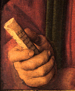 Jan van Eyck, Léal Souvenir. Détail. National Gallery, Londres