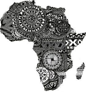 Dessin de tatouage en motifs africains de la carte de l'Afrique