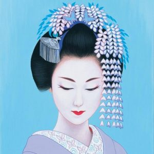 Ichiro, Tsuruta, A Japanese woman with wisteria hat, illustration, source : Pinterest