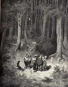 Poucet et ses frères perdus dans la forêt épaisse, gravure de Gustave Doré