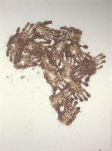 Richard Long, Mud hand Africa Map, 1985