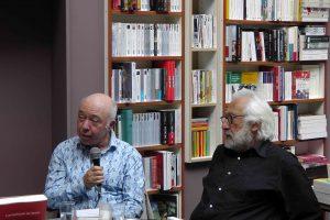 Jacques Sojcher (poète), Richard Kenigsman (peintre) dans la librairie La Licorne à Bruxelles, vagabondssanstreves.com