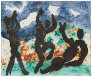 Pablo Picasso, Joueur, danseur et buveur sur ciel bleu et blanc, 1957, the-saleroom.com