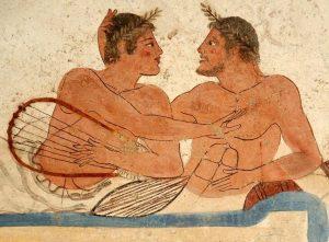 La fresque de la Tombe du Plongeur, Paestum (Poseidonia, Italie), commons.wikimedia.org