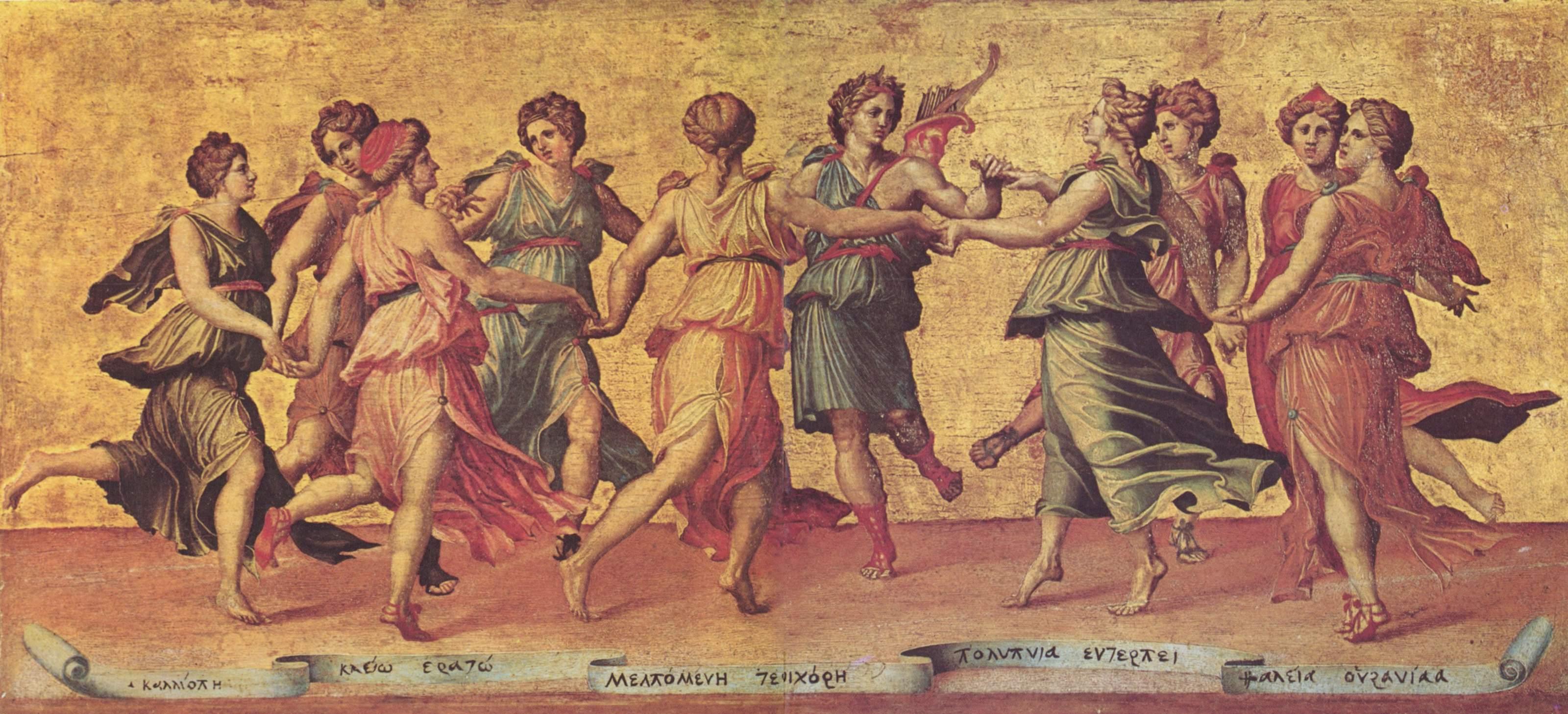 Baldassare Peruzzi, Danse d'Apollon avec les muses, (anciennement attribué à Giulio Romano), Galleria Palatina (Palazzo Pitti), Florence, commons.wikimedia.org