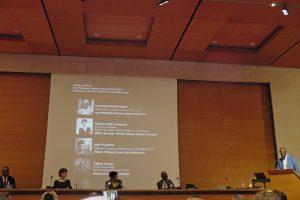 Célestin Monga, Séverine Kodjo-Grandvaux, Lydie Moudileno, Souleymane Bachir Diagne, Alain Mabanckou, Colloque Penser et écrire l'Afrique aujourd'hui, Collège de France, vagabondssanstreves.com