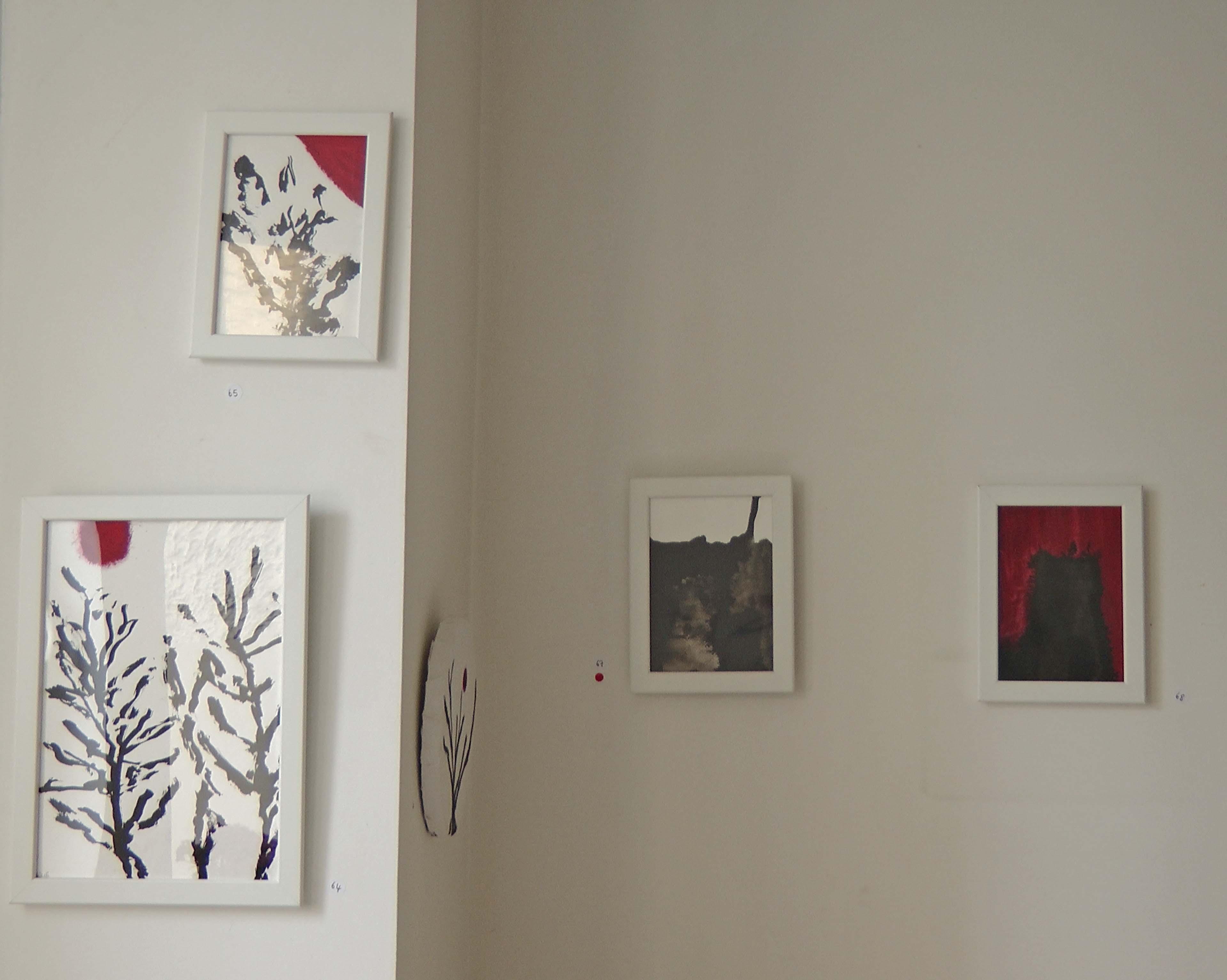 Rachel Silski, Études préparatoires pour la série Très Doucement à gauche, série Soleil Trompeur à droite, Parcours d'artistes 2016