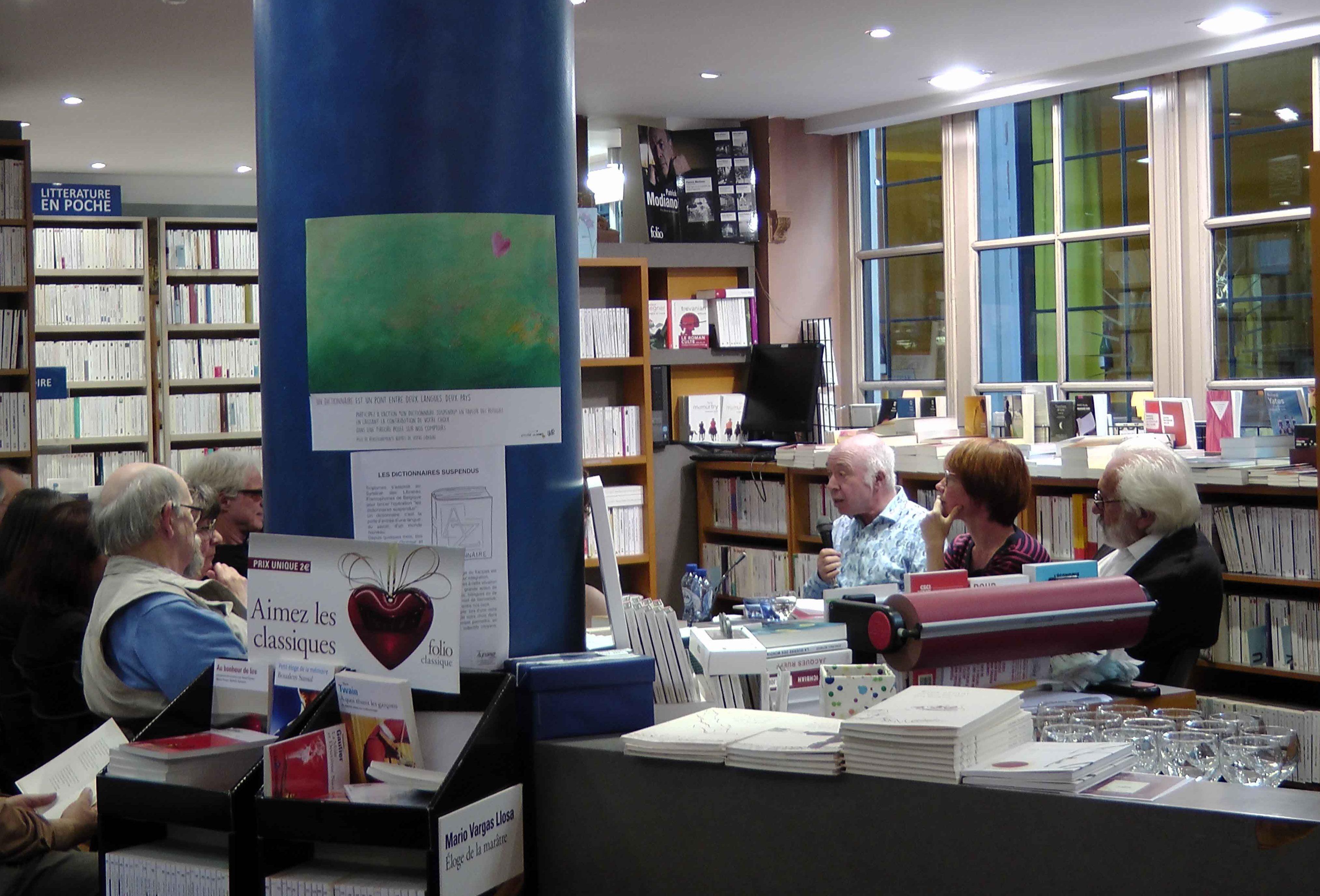 Jacques Sojcher (poète), Virginie Devillers (historienne de l'art), Richard Kenigsman (peintre), 2 juin 2016, librairie Tropismes, Bruxelles, vagabondssanstreves.com