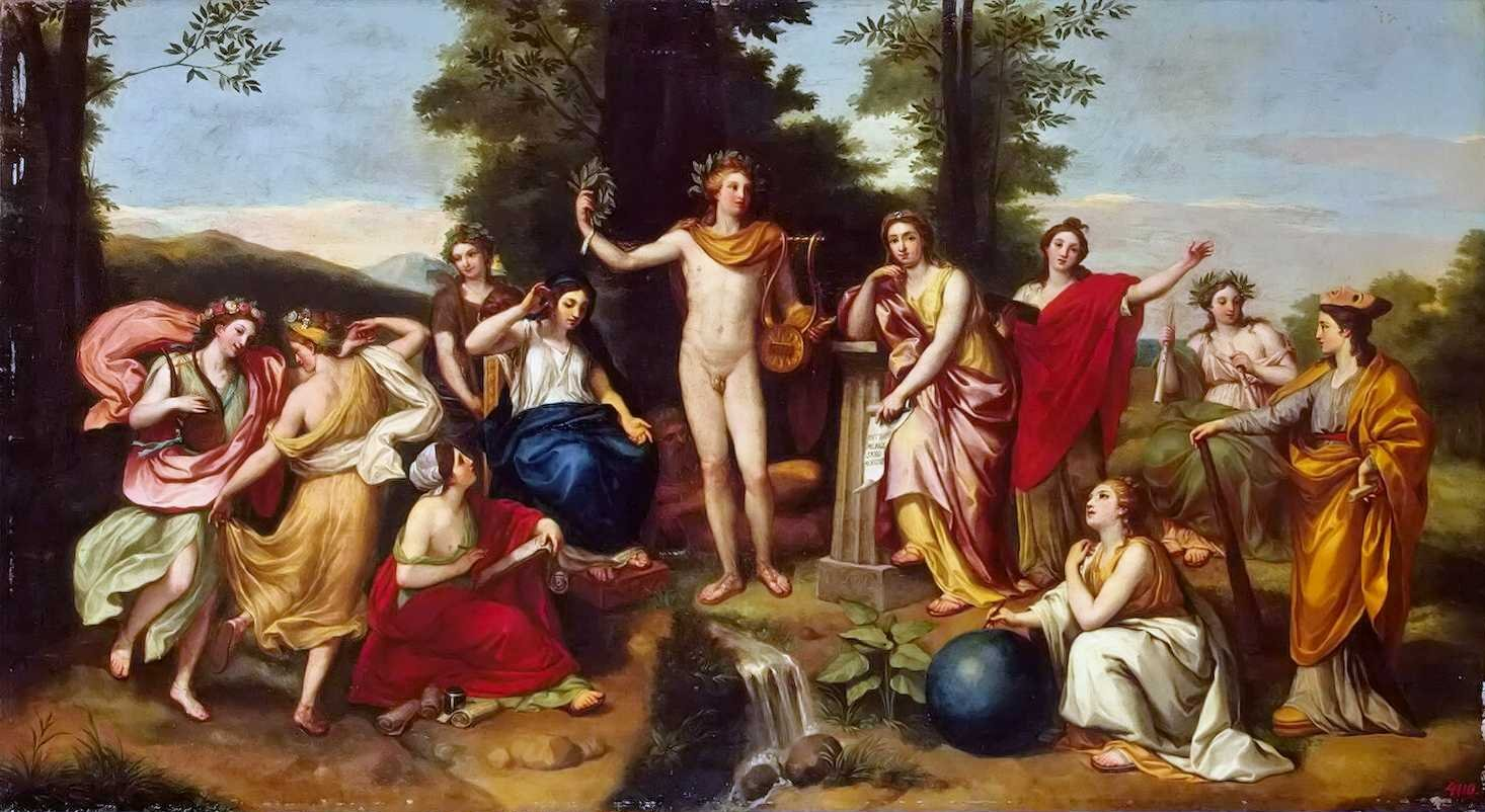 Anton Raphael Mengs, Le Parnasse, 1750-1760, Musée de L'Ermitage, arts.mythologica.fr