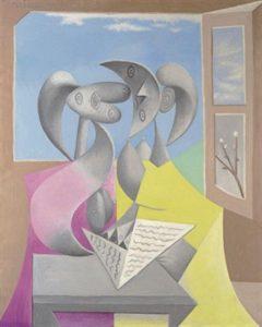 Pablo Picasso, Deux personnages lisant (Marie-Thérèse et sa soeur), 1934, artobserved.com