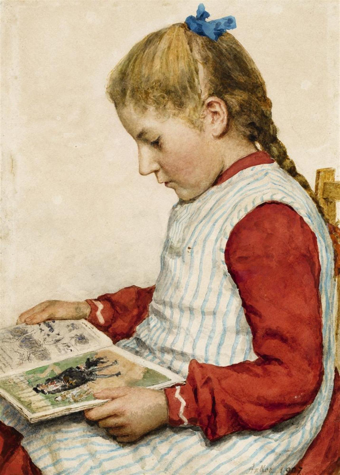 Albert Anker, A Girl Looking at a Book, 1907