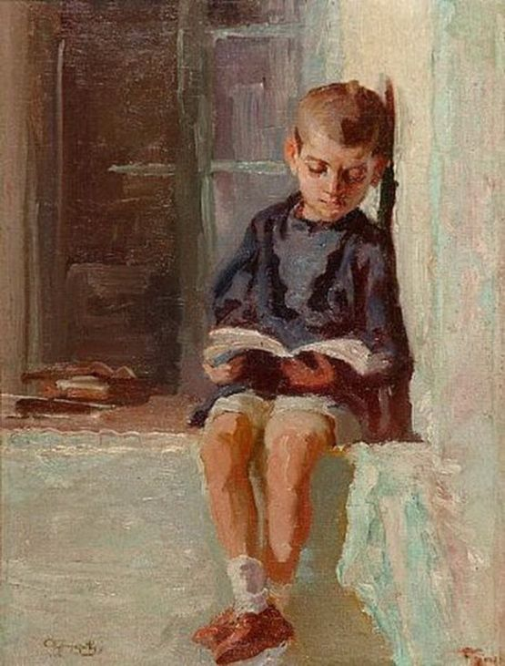 Alexandros Christofis, 1882-1953, Boy reading a book reading
