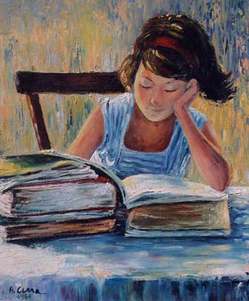 Antonio Cerra, Girl reading, 1967, antoniocerra.it