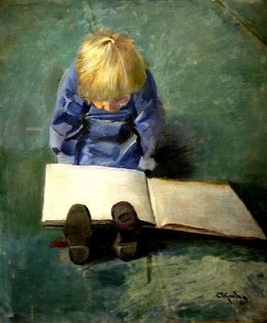 Christian Krohg, 1852-1925, Little boy reading