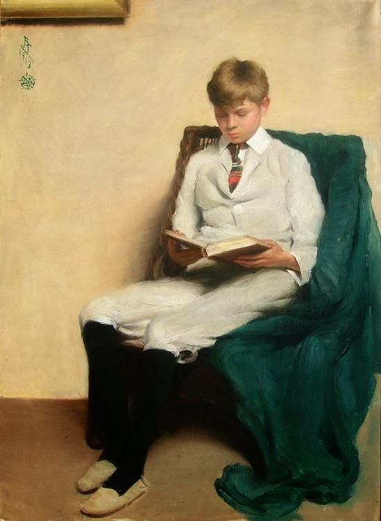Edmund C. Tarbell, Portrait of a boy reading, 1913