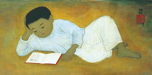 Mai Trung Thu, Child Reading a Book, 1968