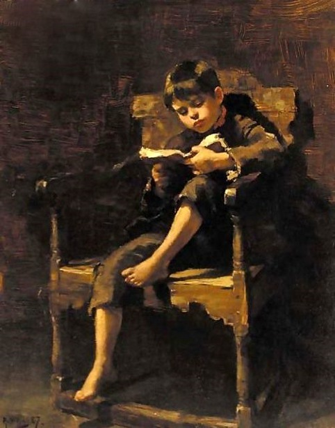 Ralph Hedley, 1848-1913, A good read, 1887