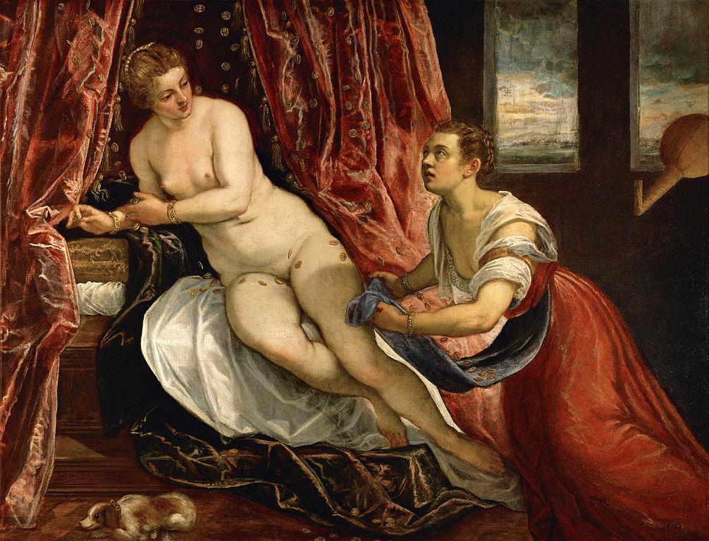 La Danaé par Le Tintoret (vers 1570). Le Tintoret Veronica Franco serait le modèle de Danaé (la femme de gauche)