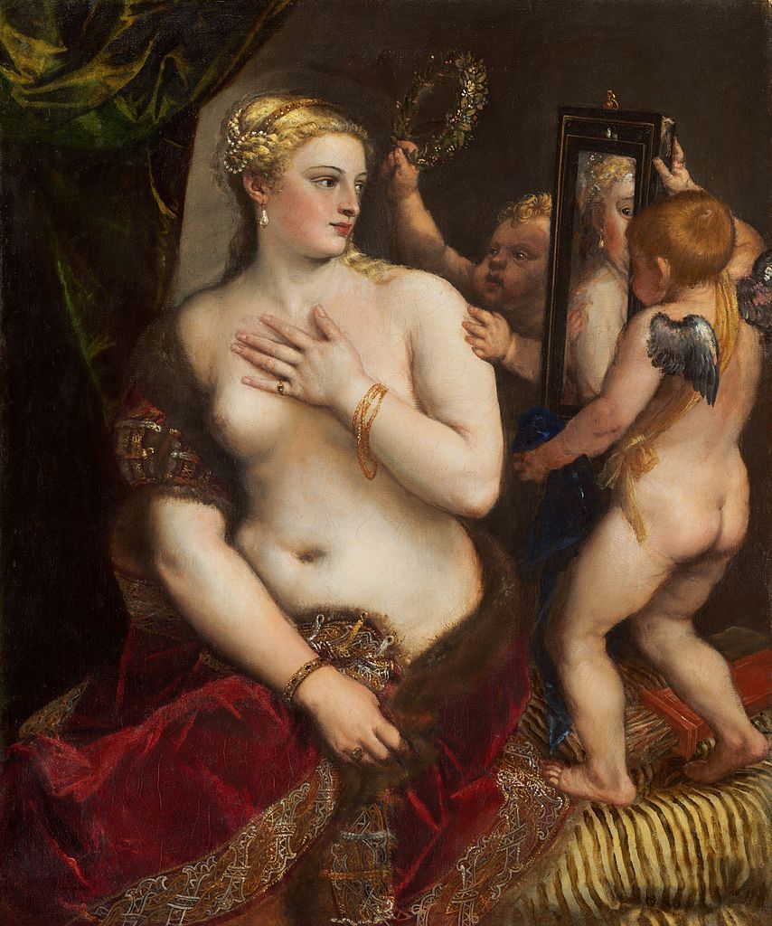 Le Titien, Vénus à sa toilette avec Cupidon, 1555, National Gallery of Art