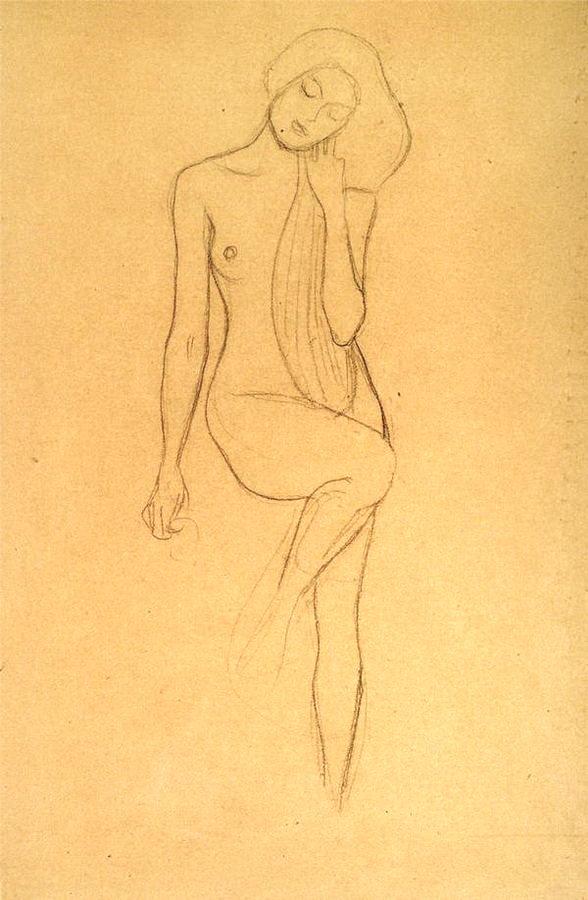 Gustav Klimt, Nu jambe droite soulevée, 1902, Albertina & Wien Museum, pinterest.com