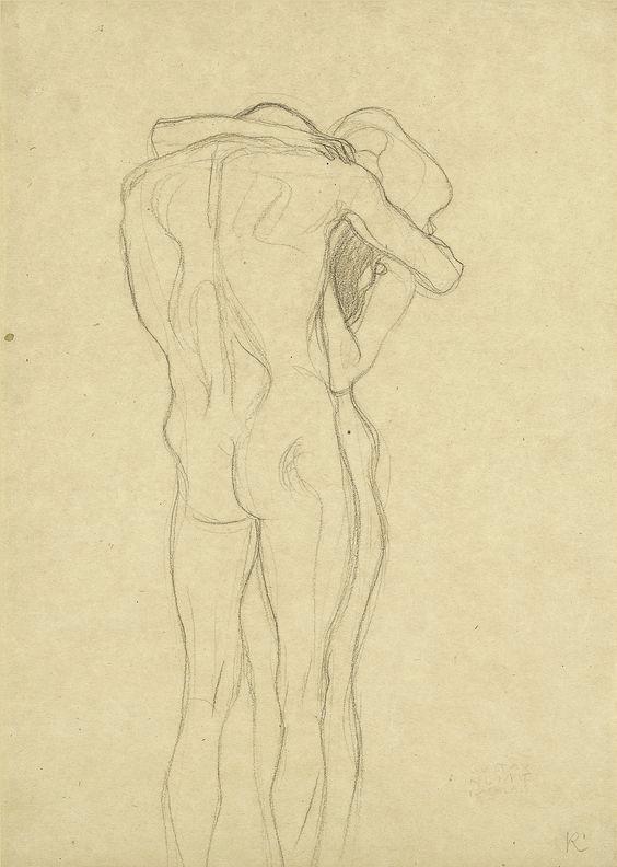 Gustav Klimt, Étude pour La frise Beethoven, 1902, Leopold Museum, pinterest.com