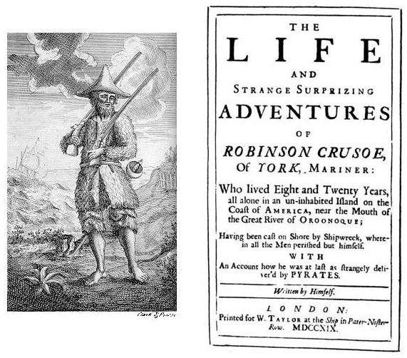 Robinson Crusoe, première édition, 1719, commons.wikimedia.org