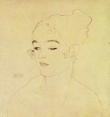 Gustav Klimt, Girl head turned left, 1915, Lead red and brown pencil, pinterest.com