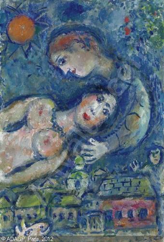 Marc_ Chagall, Couple dans le ciel bleu, 1978-1980
