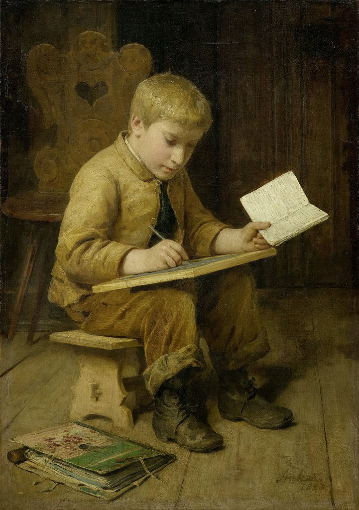 Albert Anker Schreibender Knabe, 1883, www.artnet.com
