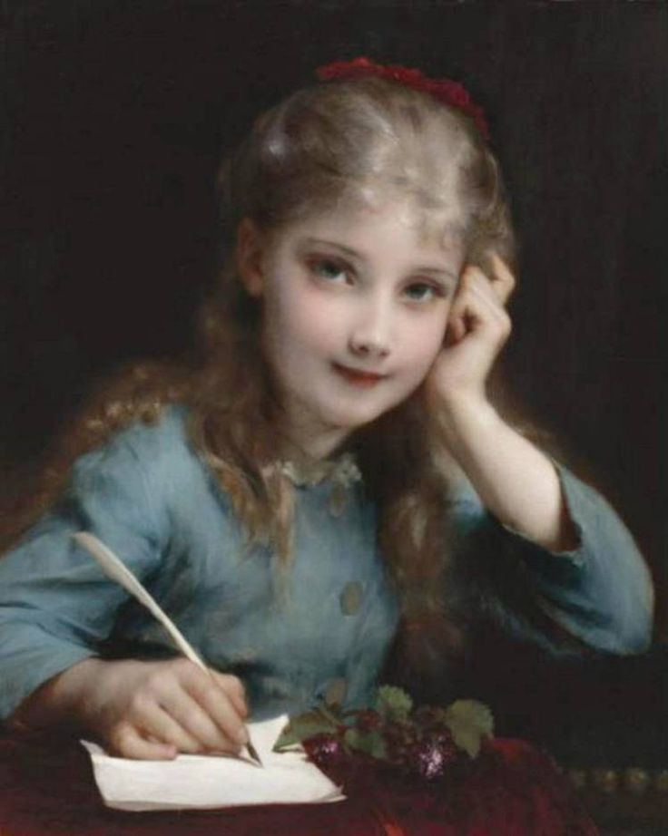Étienne Adolph Piot, A young girl writing a letter, artnet.com