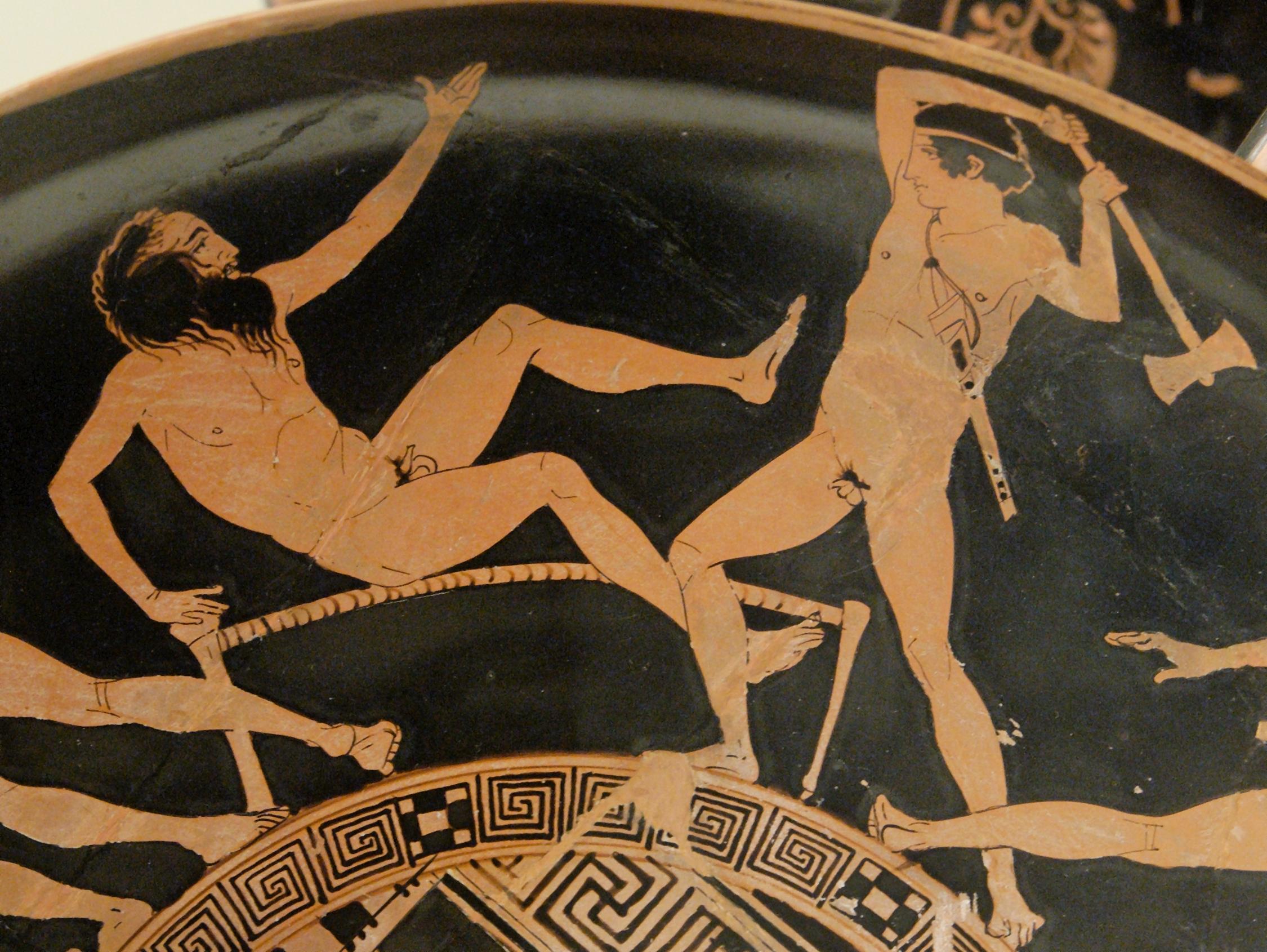 Thésée et Procuste, kylix attique à figures rouges, 440-430 av. J.-C., British Museum, commons.wikimedia.org