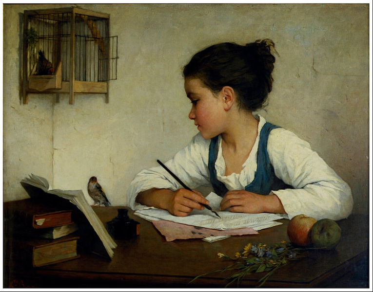 Henriette Browne, A girl writing, 1870, collections.vam.ac.uk