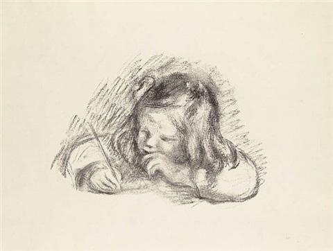 Pierre-Auguste Renoir, Le petit garçon au porte-plume, Portrait de Claude Renoir écrivant, 1902–1903, artnet.com