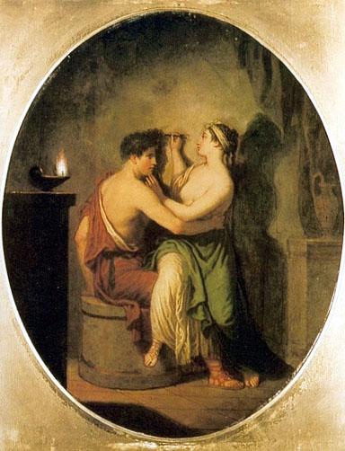 David Allan, L'origine de la peinture, 1775, pintura.free.fr